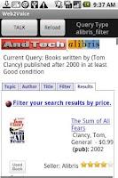 Screenshot of Web2Voice for Alibris