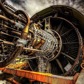 Engine... by Graham Markham - Transportation Airplanes ( aviation, promote control, bracketed, photomatix, gatwick, hdr, 9 exposures, lightroom, museum, planes, photoshop )