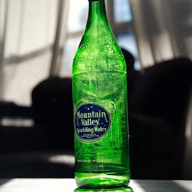 Bottle by light by Heather Link - Food & Drink Alcohol & Drinks ( water, green, glass, sunlight, glass bottle )