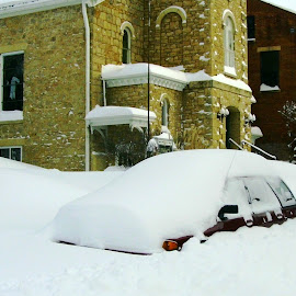 Car Buried by Snow in Galena by Kathy Rose Willis - City,  Street & Park  Street Scenes ( galena, winter, illinois, deep snow, snow, shorm, buried,  )