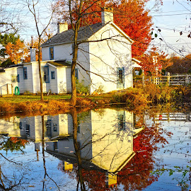 Canal House by Terry Wagner - Buildings & Architecture Homes ( water, reflection, canal )