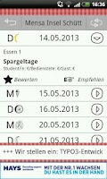 Screenshot of Mensa Speiseplan App
