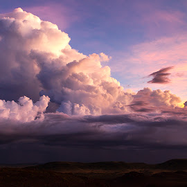 Flying High by Matt Hutton - Landscapes Cloud Formations ( clouds, eagle, sunset, landscape, hawk )