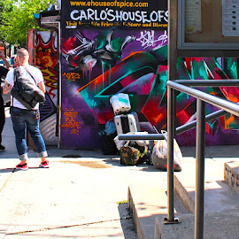 Ready to Roll by Ronnie Caplan - City,  Street & Park  Neighborhoods ( railings, streetscene, graffiti, alleyway, luggage, shadows )