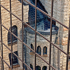 Reflective Neighbor by Doug Wallick - Abstract Patterns ( office, building, reflection, church, presbyterian, glass, westminster, neighbor )