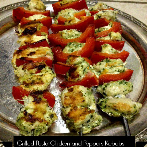 Low Calorie Grilled Pesto Chicken and Pepper Kebabs