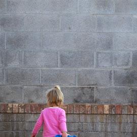 Walking Away by Leslie Nu - Babies & Children Toddlers ( patterns, concrete wall, nora, blocks, toddler )