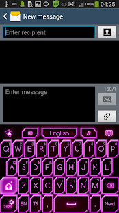 GO Keyboard Pink Neon Theme - screenshot