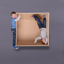 Twins with Magic Box by Terry Mendoza - Babies & Children Child Portraits