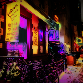 Medicine Show by Kenneth Cox - Digital Art Places ( colorful, neon, electric, night, new york city, city, street photography )