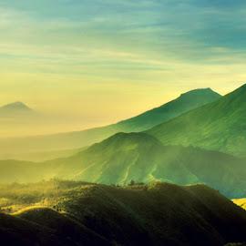 sindoro-sumbing by Fora Ginanjar Katamsi - Landscapes Mountains & Hills ( hills, mountains, mountain, lanscape, sunrise, morning )