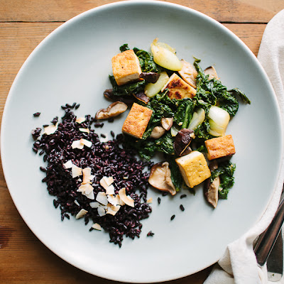 Tofu, Mustard Greens, and Shiitake Mushroom Stir-Fry
