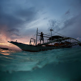 Night ride by Andrey Narchuk - Transportation Boats ( water, native, underwater, sunset, wave, sea, split, boat, philippines,  )