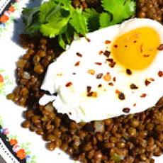 Poached Eggs with Spiced Lentils