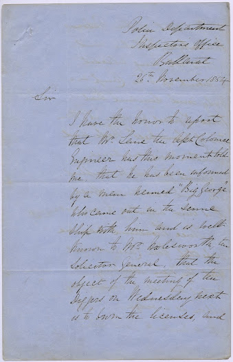 "This series of documents ranging from 26 November to 12 December 1854, from Inspector Gordon Evans to Chief Commissioner of Police, Captain Charles MacMahon, presents the events of the week leading up to the Stockade from the police point of view.  <a href=""http://wiki.prov.vic.gov.au/index.php/Eureka_Stockade:Inspector_Evans_reports_on_the_preludes_to_the_attack_on_the_Stockade"">Click here to see more of this record on our wiki</a>  The documents highlight the police's firm belief that the diggers were intending to attack the Camp and release the prisoners McIntyre, Fletcher and Westerby by force. In sequence, these documents give a good account of the unrest that existed in the days before the Stockade. The documents illustrate the importance played by detectives and other informants in providing the government with news of the diggers' intentions, even if these proved to be misguided. There is also the rather extraordinary account of a sighting of Frederick Vern dressed as a woman and fleeing for the hills of Bunninyong!"