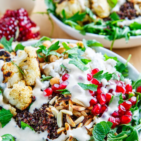 ... Salad with Almonds, Pomegranate and Feta in a Lemony Tahini Dressing