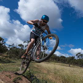 Biking 8 by Sean Heatley - Sports & Fitness Cycling ( homeh, caucasion male, south australia, mountain biking, blue sky background, sport, adelaide, mountain bike, bicycle, adventure, blue sky, bike, challenge, pushbike, trail, outdoor, australia, path, trees )