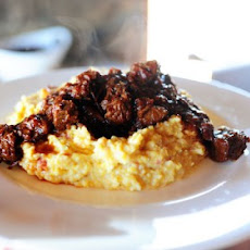 Spicy Stewed Beef with Creamy Cheddar Grits