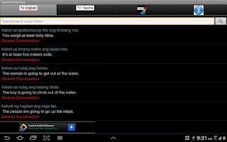 Screenshot of Tagalog Phrase Book
