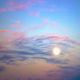Twilight Moon by Michael Allan Scott - Digital Art Places ( clouds, moon, sky, sunset, twilight, skyscape )