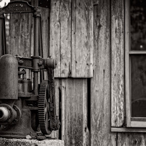 OLD PUMP & WINDOW by DJ HOGG - Abstract Patterns ( d 810, ansel sepia, digital nikon, depression era, time gone by, rustic home )