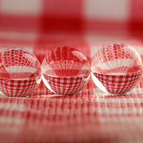 by Dipali S - Artistic Objects Other Objects ( red, check, reflections, spheres, refraction )