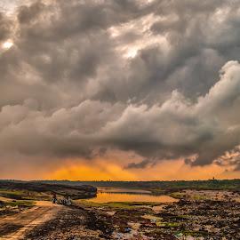 Fiery Sky  by Havneet Singh - Landscapes Cloud Formations ( clouds, nature, sunset, landscape, nikon, rains, photography )