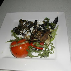 Barbecue Lamb on Mediterranean Salad