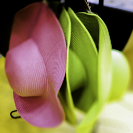 Straw Hats by Nancy Merolle - Artistic Objects Clothing & Accessories ( hats, green hat, straw hats, pink hat, clothing, summer, lensbaby edge 80, lensbaby composer, lensbaby, accesories, yellow hat )