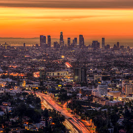 Sunset over Los Angeles by Jay Snell - City,  Street & Park  Skylines ( urban, north america, california, sunset, los angeles, dusk, united states,  )