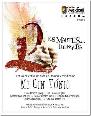 Mi Gin Tonic. Lectura de Crónica Literaria y minificción.