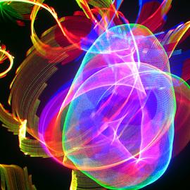 Bulging disc  by Jim Barton - Abstract Patterns ( laser light, colorful, light design, laser design, laser, bulging disc, laser light show, light, science )