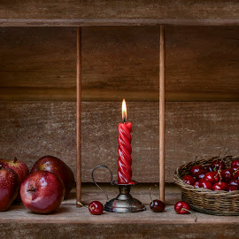 Merry Christmas by Margareth Perfoncio - Artistic Objects Still Life ( cherry, candle, textures, apples, light )