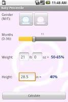 Screenshot of Baby Percentile
