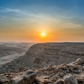 Sunrise is awesome !! by Mohamed Yasser - Landscapes Deserts ( sand, orange, blue sky, mountain, desert, blue, sunset, sunrise, rocks, sun )