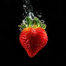Strawberry Dive by Troy Wheatley - Food & Drink Fruits & Vegetables ( water, fruit, red, splash, strawberry )