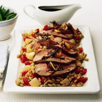 Roast Leg Of Lamb With Beans