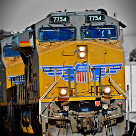 Union Pacific by Jerrod Edwards - Transportation Trains ( #california, #roseville, #colorsplash, #railroad, #train, #unionpacific, #hdr )