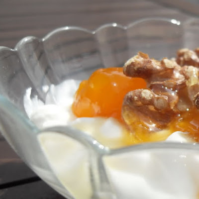 Greek Yogurt with Apricot Preserves, Walnuts and Honey