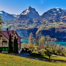 Home Sweet Home. by Jesus Giraldo - Buildings & Architecture Homes ( swiss, mountains, nature, colorful, lake, beauty, landscape, inspirational, alps )