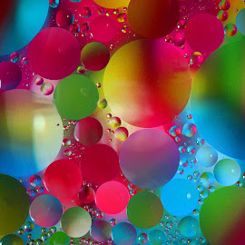 Neon World by Janet Herman - Abstract Macro ( water, abstract, macro, colors, neon, floating, spheres, oil )