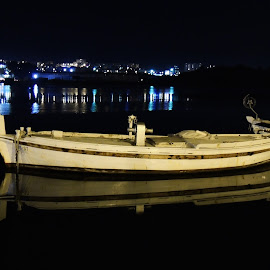Silence by Djurdjica Milosavljevic - Transportation Boats ( white, dark, silence, sea, night, boat, float,  )