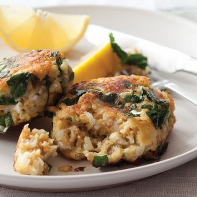 Millet Fritters with Feta, Spinach, and Golden Raisins
