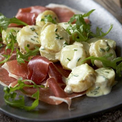 Warm New Potatoes With Cured Ham & Chives