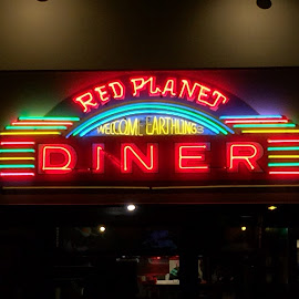 Red Planet Diner by Daniel Gorman - Artistic Objects Signs ( sign, signs, planets, planet, desert, red, mars, neon, arizona, sedona, red planet, deserts )