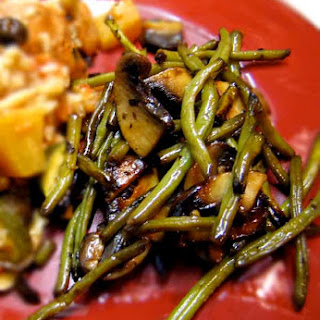 Pomegranate Glazed Green Beans and Portobellos