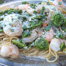 Spaghettini With Fiddleheads and Shrimp