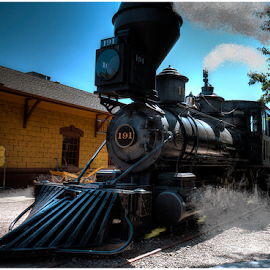 Coming Into The Station by Mike Trahan - Transportation Trains ( steam engine, railway station, train, transportation )
