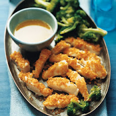 Crispy Pacific Cod with Parmesan-Butter Dipping Sauce and Broccoli