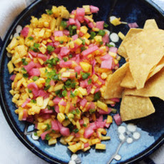 Peach Salsa with Pickled Red Onions and Serrano Chiles